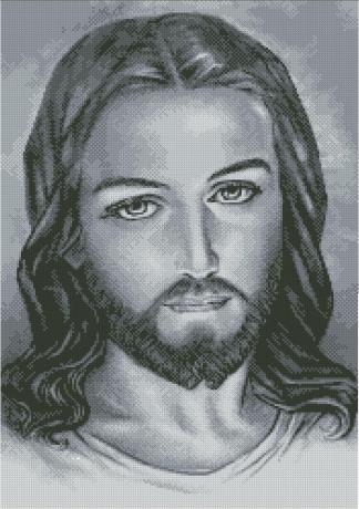JESUS-2: bordado en punto de cruz del rostro de Jesucristo