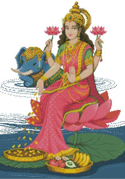 RELIHINDU-1: bordado a punto de cruz de diosa hindú Lakshmi
