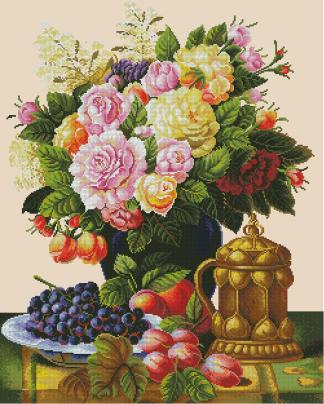 BODEGON-8: Gráfico de punto de cruz para descargar en PDF, imprimir y bordar bodegón con flores, uvas y ciruelas