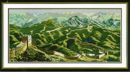F-070: Kit de punto de cruz para bordar paisaje con gran muralla china