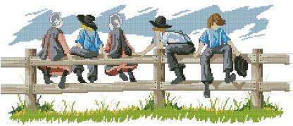 INFAMISH: Bordado a punto de cruz de dibujo infantil con niños amish sobre valla