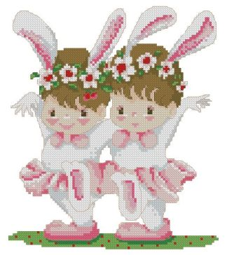 INFBALLET-1: bordado a punto de cruz de niñas bailarinas disfrazadas de conejito
