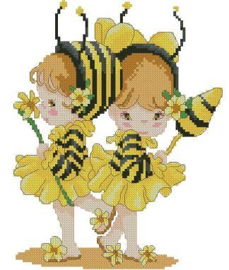 INFBEE-1: bordado a punto de cruz de niñas disfrazadas de abeja