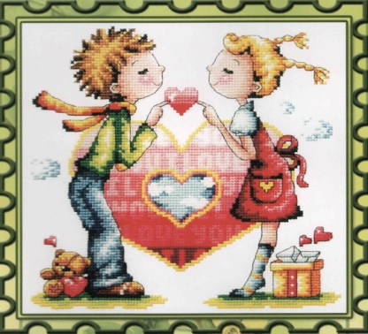 K-001: kit de punto de cruz para bordar pareja de enamorados