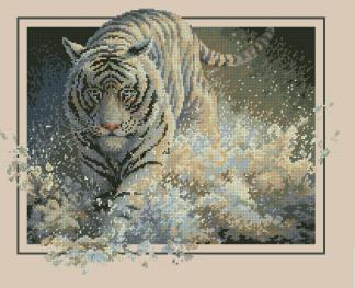 Bordado a punto de cruz de tigre corriendo