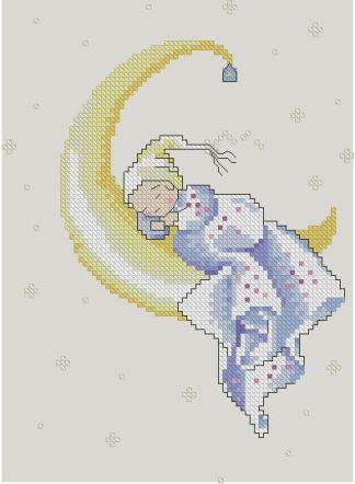 Bordado a punto de cruz de dibujo infantil con bebé dormido sobre la luna