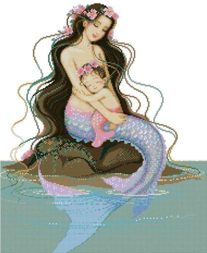 FANSIREN-2: Bordado a punto de cruz de dibujo de sirenas madre e hija