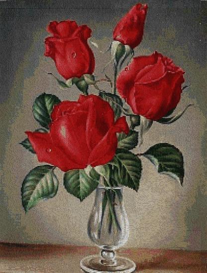 FLJROS-1: bordado a punto de cruz de ramillete de rosas rojas