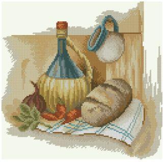 BODEGON-9: bordado de punto de cruz de bodegón con pan y vino