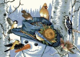 ANIPAJ-4: bordado a punto de cruz de pájaros sobre muñeco de nieve
