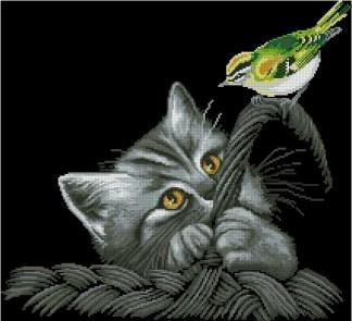 ANIGYP-2: bordado a punto de cruz de gato y pájaro sobre fondo negro
