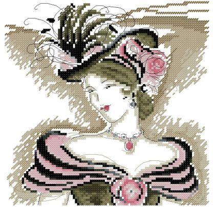 LADY-2: bordado a punto de cruz de Dama con sombrero