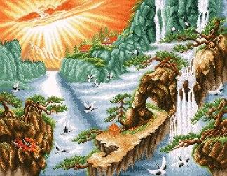 PAJCHINA-2: bordado a punto de cruz de paisaje chino con cascada