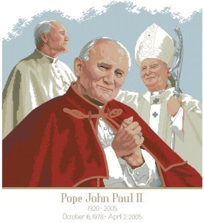 RELIPAPA: bordado a punto de cruz del Papa Juan Pablo II