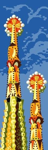 AGUJAS: Cañamazo / Panamá con dibujo impreso de las agujas de La Sagrada Familia de Barcelona, para bordar en petit point ó punto de cruz