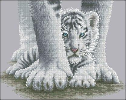 ANITIG-5: bordado a punto de cruz de madre y cachorro de tigre blanco
