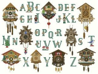 CLOCKS-ABC: bordado a punto de cruz de relojes de cuco y abecedario