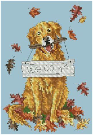 """DOG-2: bordado a punto de cruz de perro con cartel """"Welcome"""""""