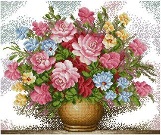 FLVASE-7: bordado a punto de cruz de jarrón con flores