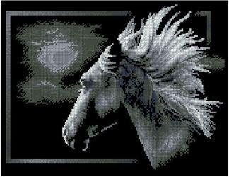 HORSES-5: bordado a punto de cruz de caballo sobre fondo negro
