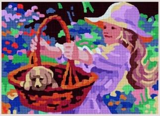 NINA-CESTA: cañamazo con dibujo impreso de niña con cesta y perrito, para bordar en petit point