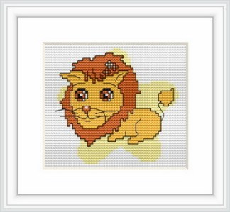 B054: Kit de punto de cruz para bordar dibujo infantil con signo del zodíaco de Leo