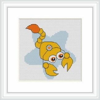 B057: Kit de punto de cruz para bordar dibujo infantil con signo del zodíaco de Escorpio