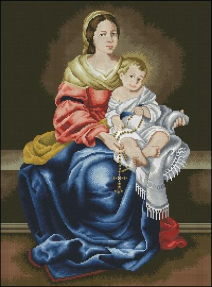 RELIVYN-4: bordado a punto de cruz de Virgen María con Niño Jesús