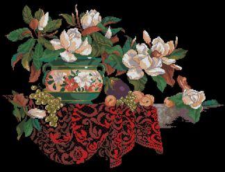 BODEGON-13: bordado a punto de cruz de bodegón con magnolias y mantel rojo