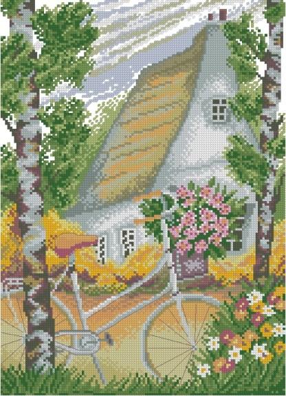 PAJABICI-1: bordado a punto de cruz de escena rural con casa de campo y bicicleta