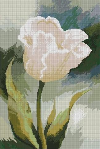 TULIP-1: bordado a punto de cruz de tulipán blanco