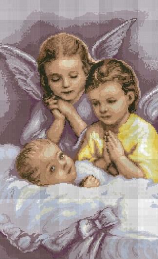 BBGUARDA: bordado a punto de cruz de bebé y niño con ángel de la guarda