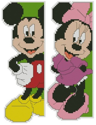 INFMMOUSE-1: bordado a punto de cruz de Mickey y Minnie Mouse