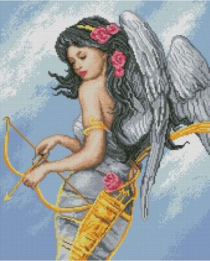 ANGARC: bordado a punto de cruz de mujer ángel con arco