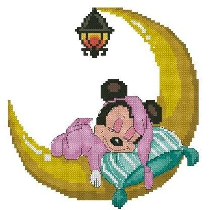 BBMINNIE-1: bordado a punto de cruz de bebé Minnie Mouse dormida sobre luna