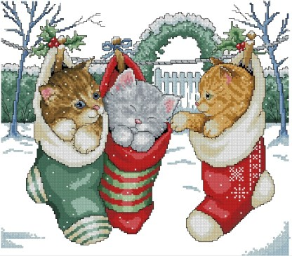 FESCATS-1: bordado a punto de cruz de calcetines con gatitos