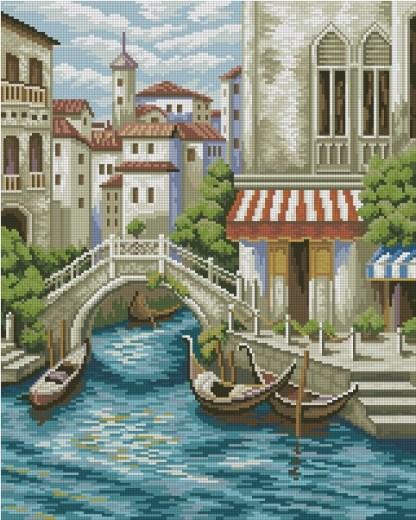 VENICE-1: bordado a punto de cruz de los canales de Venecia