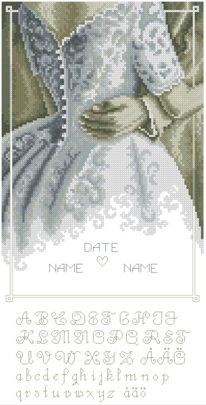 WEDDING-3: bordado a punto de cruz de recuerdo de boda