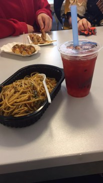 My lunch for the day: veggie soba and bubble tea