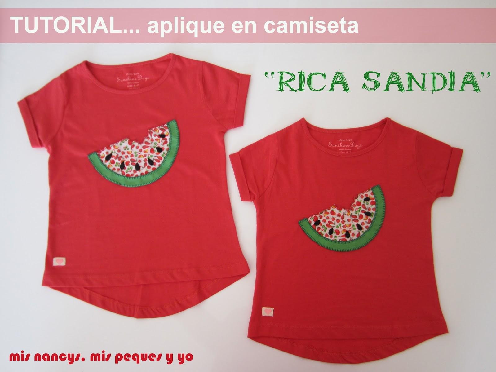 """Tutorial Aplique en camiseta…""""Rica Sandía"""""""