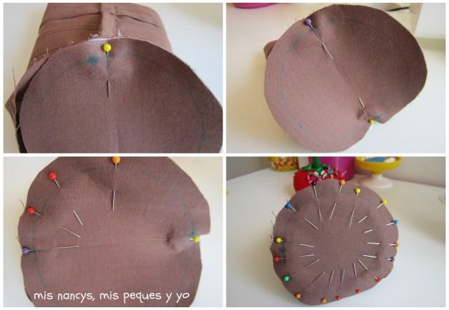 mis nancys, mis peques y yo, tutorial bolsita de viaje, colocar alfileres base circular