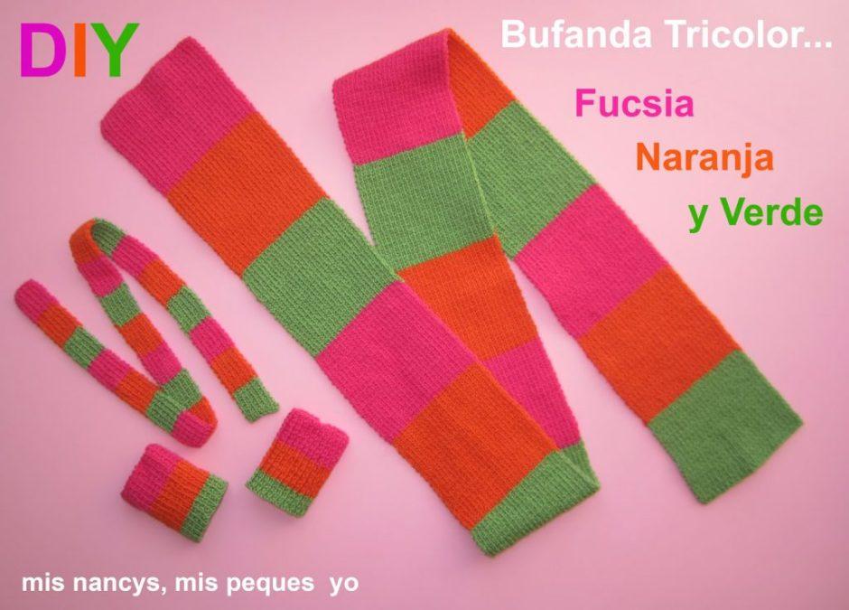 mis nancys, mis peques y yo, tutorial bufanda de lana tricolor para nancy y para niñas
