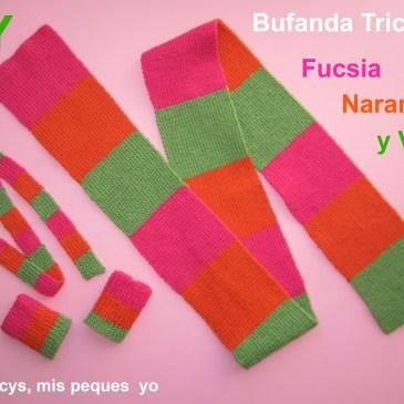 Tutorial Bufanda Tricolor…fucsia, naranja y verde