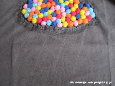 mis nancys, mis peques y yo, tutorial aplique camiseta con pompones, dibujar lineas lluvia