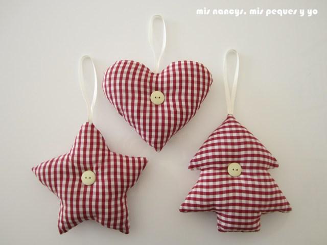 mis nancys, mis peques y yo, tutorial DIY adornos Navidad, colgantes corazón, estrella y árbol