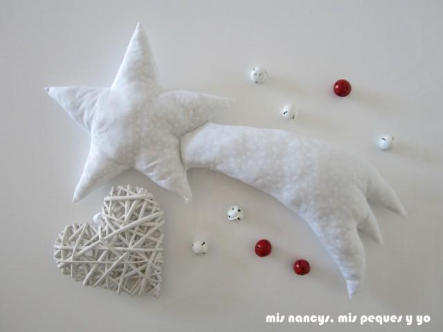 mis nancys, mis peques y yo, tutorial DIY cojín con forma de estrella de Oriente de Navidad