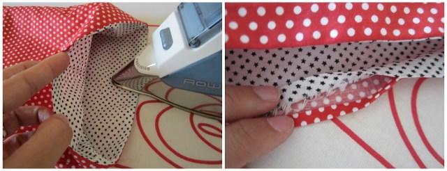 mis nancys, mis peques y yo, tutorial bolsitas de Navidad reversibles, planchar y asentar costuras