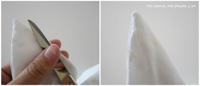 mis nancys, mis peques y yo, tutorial DIY cojín con forma de estrella de Navidad, sacar esquinas