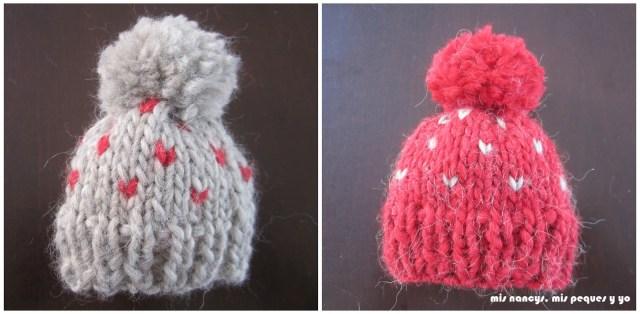 mis nancys, mis peques y yo, tutorial gorros de lana para nancy, gorros terminados