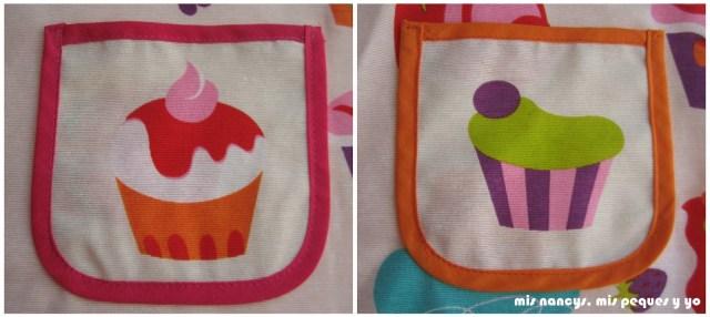 mis nancys, mis peques y yo, delantal con cupcakes para niñas, detalle bolsillo